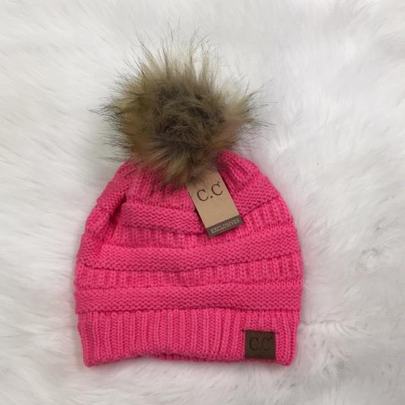 ebab1291148 New Candy Pink Fur Pom C.C Beanie